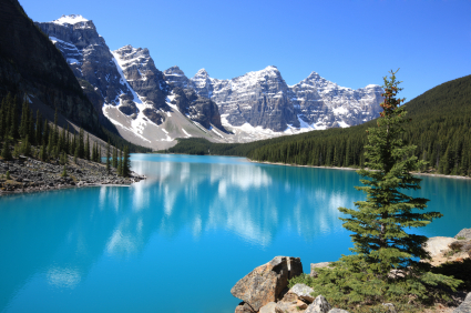 The idyllic Moraine Lake in Banff National Park, Canadian Rockies