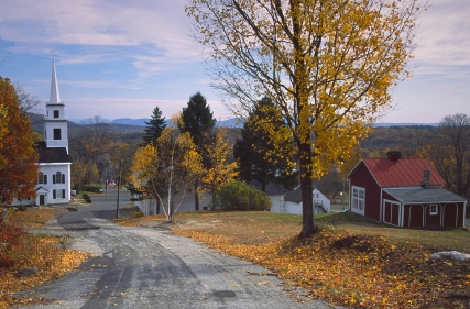 The small village of Westhampton during the autumn foliage season.