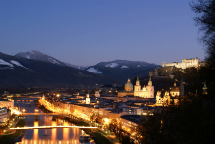 Salzburg's romantic old town, a UNESCO World Heritage Site, just after sunset in the winter.
